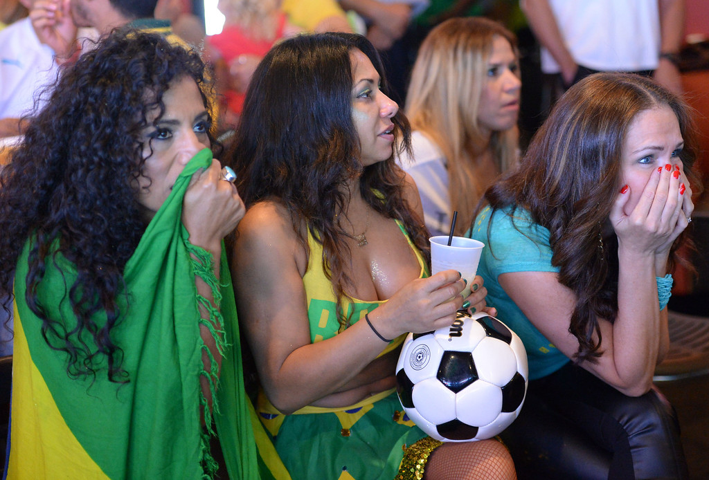 . Brazil soccer fans crowded into Samba restaurant to watch the FIFA World Cup game against Croatia Thursday, June 12, 2014, Redondo Beach, CA.  The South Bay is home to a large Brazilian community.  Fans were quiet in the beginning after Croatia took a 1-0 lead, but Brazil came back to win 3-1. Photo by Steve McCrank/Daily Breeze