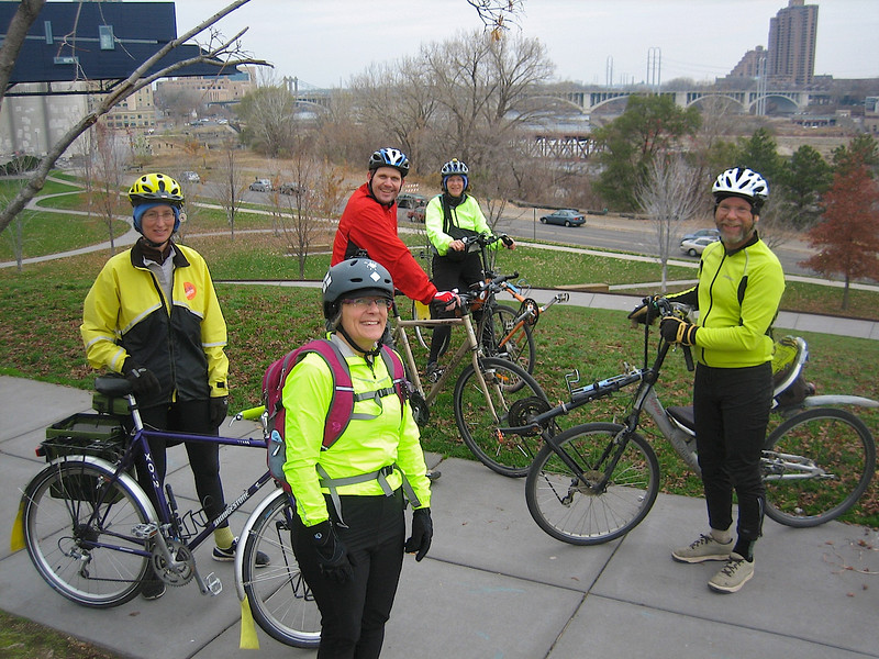 A bike ride put together by Kaia, in front here. Thanks Kaia great route! Ann, Torsten, Julie and John. This was Sunday November 4th before the Volunteer Recognition Reception at the Macalester Alumni House