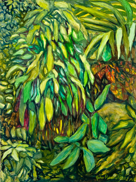 """© 2008 John Rachell Title: Garden, March 26, 2008 Image Size: 36"""" w by 48"""" d Dated: 2008 Medium and Support: Oils on linen Signed: LR Signature"""