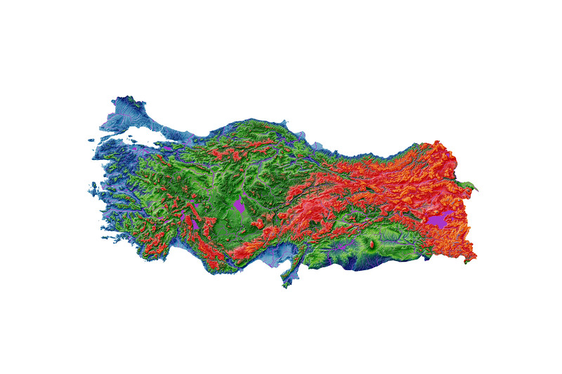 Elevation map of Turkey