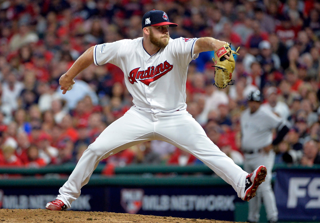 . Cleveland Indians relief pitcher Cody Allen delivers in the eighth inning of Game 1 of baseball\'s American League Division Series against the New York Yankees, Thursday, Oct. 5, 2017, in Cleveland. (AP Photo/Phil Long)