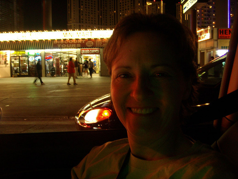 Wendy, copilot and photog for the evening, enjoys the sights and sounds.