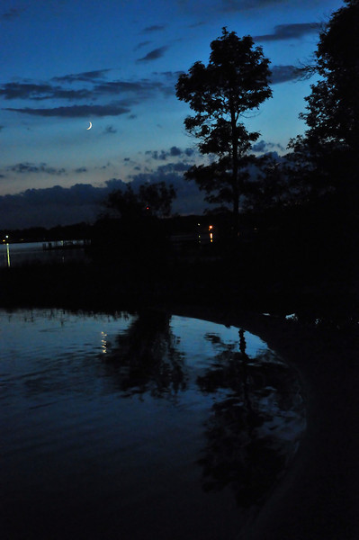 Crescent moon over Snows Channel.