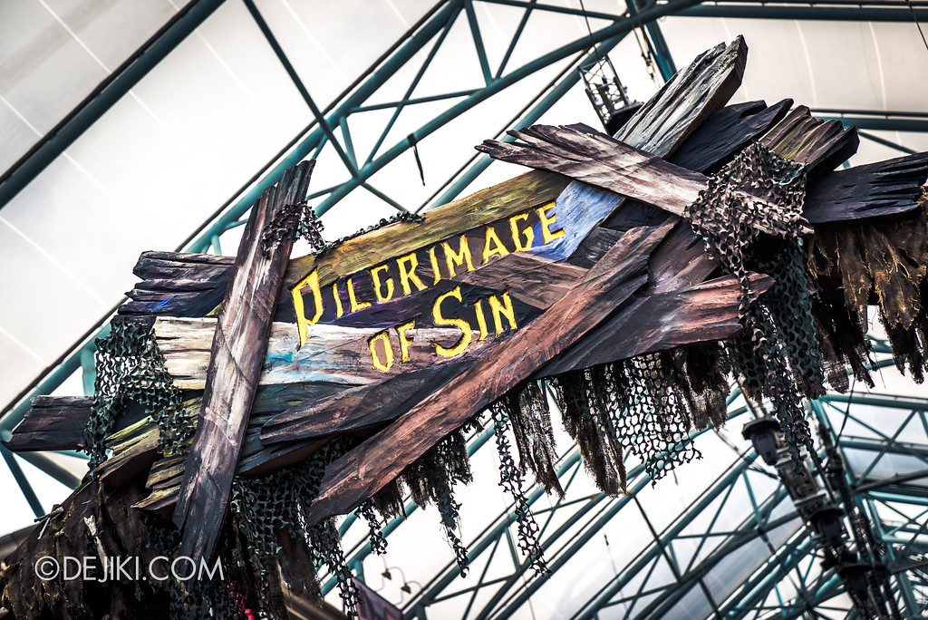 Halloween Horror Nights 7 Before Dark 2 Preview Update / Pilgrimage of Sin scare zone - marquee entrance arch