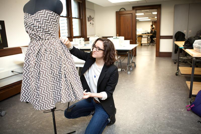 Athena Alger (Fashion Studies) with her dress.