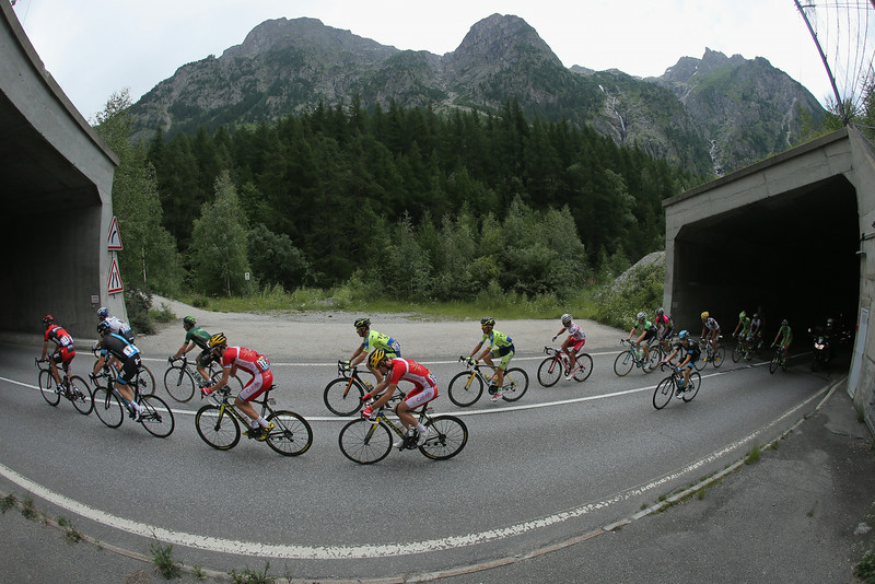 . The breakaway passes through tunnels on the climb of the Col du Lautaret during the fourteenth stage of the 2014 Tour de France, a 177km stage between Grenoble and Risoul, on July 19, 2014 in Villar d\'Arene, France.  (Photo by Doug Pensinger/Getty Images)