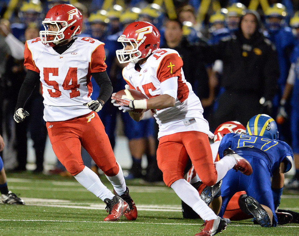 . Paraclete\'s Triston Brown (15) runs for yardage against San Dimas in the first half of a CIF-SS Mid-Valley Division championship football game at San Dimas High School in San Dimas, Calif., on Friday, Dec. 6, 2013.   (Keith Birmingham Pasadena Star-News)