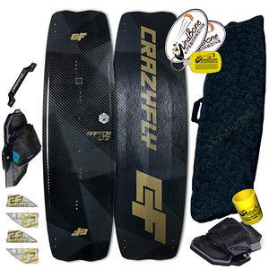2018 CrazyFly Raptor LTD Carbon Black Kiteboard Twintip Pro Performance