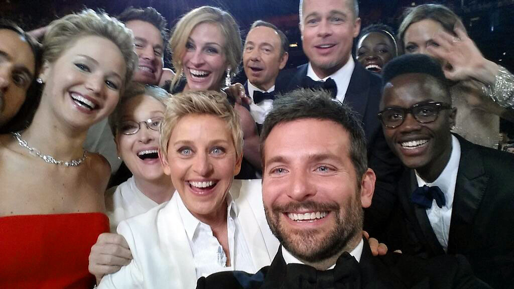 ". <p><b> History was made during Sunday night�s Oscars telecast when nearly a dozen of Hollywood�s top stars � </b> <p> A. Posed for a selfie photo <p> B. Won their first Academy Award <p> C. Slept with George Clooney <p><b><a href=\'http://online.wsj.com/news/articles/SB10001424052702304585004579417533278962674?\' target=""_blank\"">HUH?</a></b> <p>   (AP Photo/Ellen DeGeneres)"