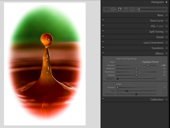 Creating a Bright Vignette with the Effects Panel by moving the Amount Slider to the right