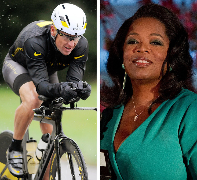 . According to a release posted on Oprah\'s website, Lance Armstrong has agreed to a rare televised interview that will air on Jan. 17, 2013 and will address allegations that he used performance-enhancing drugs during his cycling career. Lance Armstrong, left, on Oct. 7, 2012, and Oprah Winfrey, right, on March 9, 2012 in a combination image made of file photos.  (AP Photos/File)