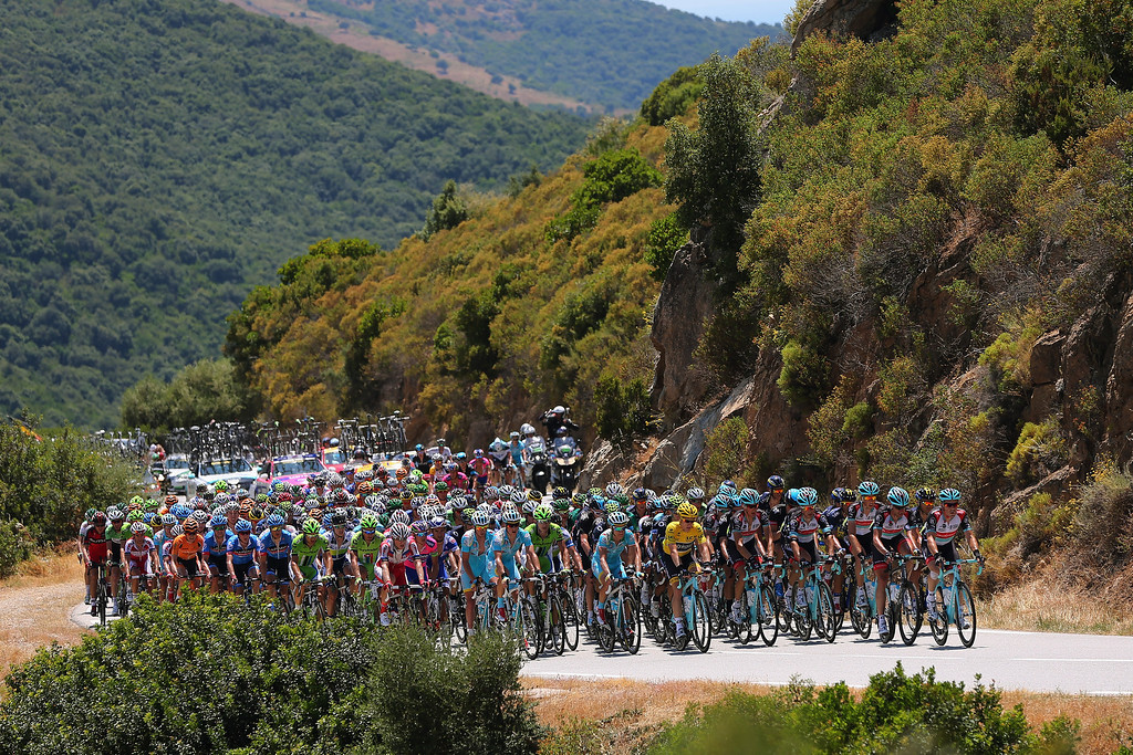 . The peloton ride through the Corsican countryside during stage three of the 2013 Tour de France, a 145.5KM road stage from Ajaccio to Calvi, on July 1, 2013 in Calvi, France.  (Photo by Bryn Lennon/Getty Images)