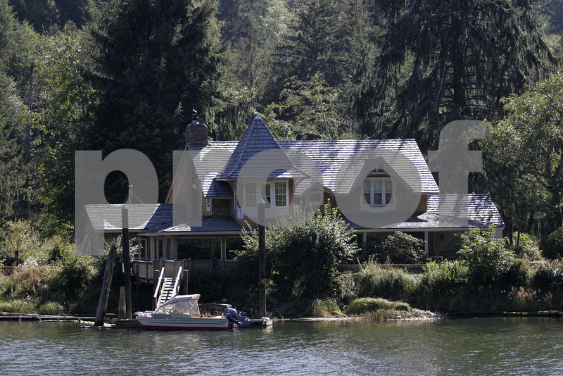 The 1970 movie, Sometimes A Great Notion, starring Paul Neuman, Henry Fonda and Lee Remick was filmed here on the shores of the Siletz River in Oregon. Photo taken on August 13, 2007.