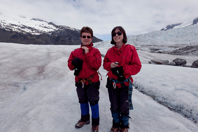 Tracy & Stephanie, ready for hike on Mendenhall Glacier