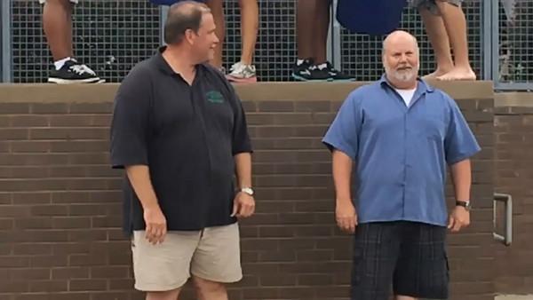 Mr. Minick and Matt Savage do the ALS Ice Bucket Challenge