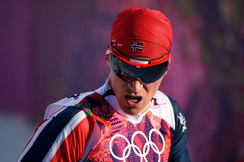 . Ola Vigen Hattestad of Norway crosses the finish line in the Finals of the Men\'s Sprint Free during day four of the Sochi 2014 Winter Olympics at Laura Cross-country Ski & Biathlon Center on February 11, 2014 in Sochi, Russia.  (Photo by Harry How/Getty Images)