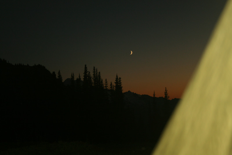Moon from the tent. I saw three shooting stars day one, meteor shower.