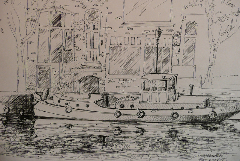 Pen and Ink Study of Amsterdam Canal Boat and the buildings behind Ala Prima, Plein Aire 13X10