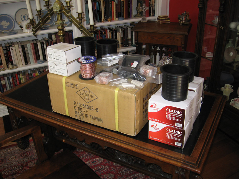 """Here's the complete """"kit"""" from Parts Express: 16 Dayton Classic 5.25"""" midwoofers, 2 Vifa DX25 tweeters, 50' of 16 ga wire, speaker terminals, ports, feet, air core inductors, Dayton poly capacitors, resistors, #6 driver mounting screws, quick disconnects. Thanks to a very generous discount from Parts Express, all this is only $290!"""