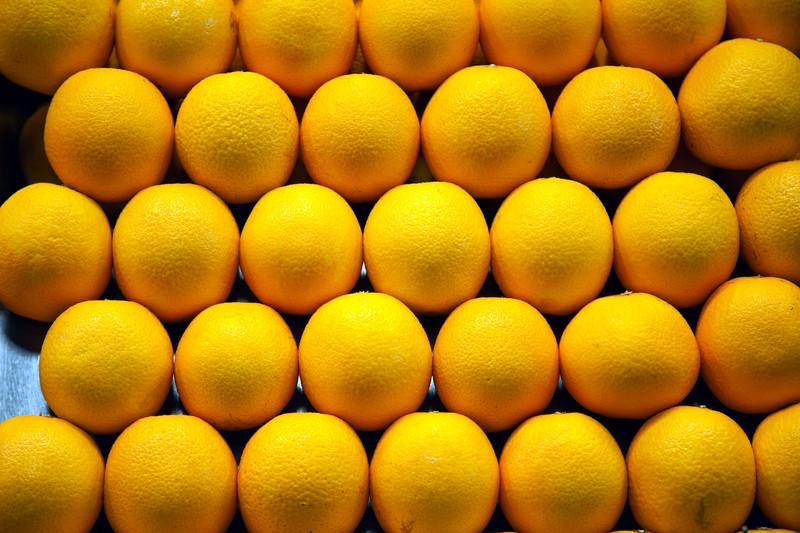 Oranges, Boqueria market, town of Barcelona, autonomous commnunity of Catalonia, northeastern Spain