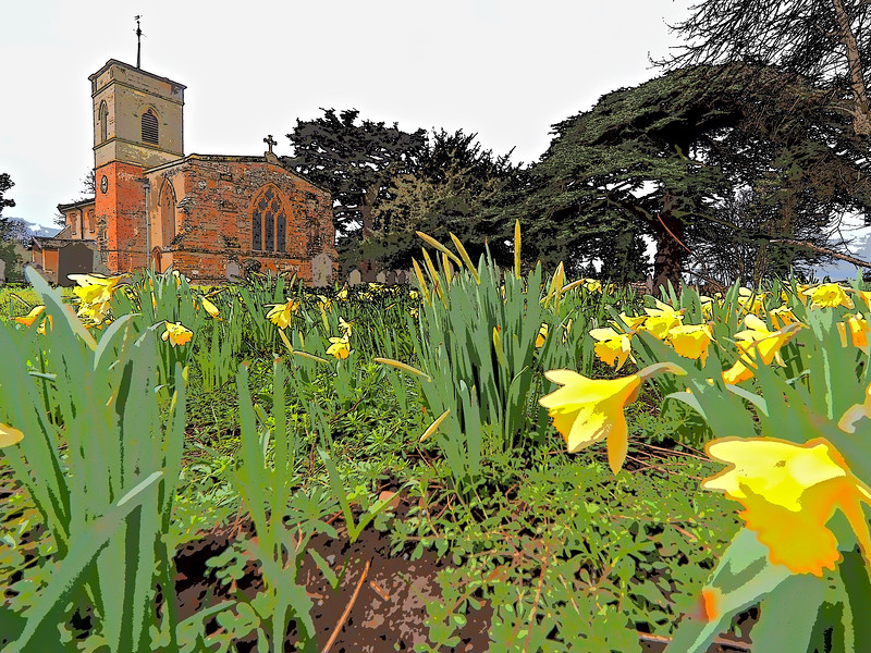 Church and daffodils