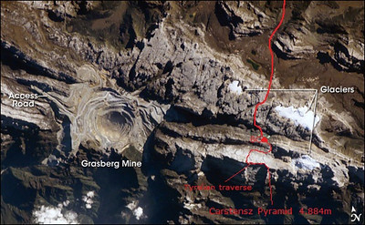 Our route and Grasberg mine - aerial view.