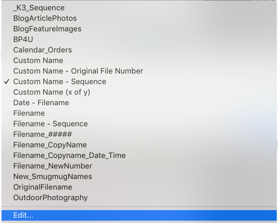 Select Edit to open the Filename Template Editor