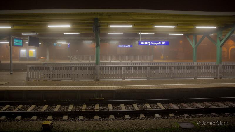 Trainstation in fog. Surreal! Freiburg, Germany