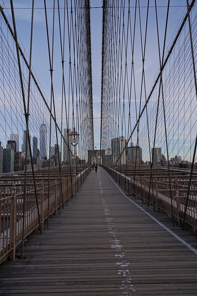 Pedestrian and cycle way across the Brooklyn Bridge.