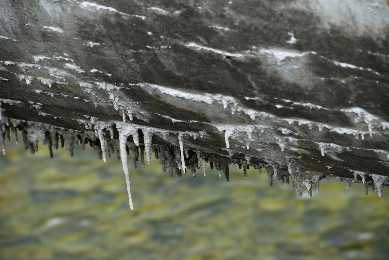 5/30/07 – At the mouth of Provo Canyon there is a large cement water pipe. It carries drinking water from Deer Creek to Salt Lake City. Most of the way it is underground. At this point it crosses over the Provo River. The water leaks very slowly and the calcium creates these stalactites. I found them interesting