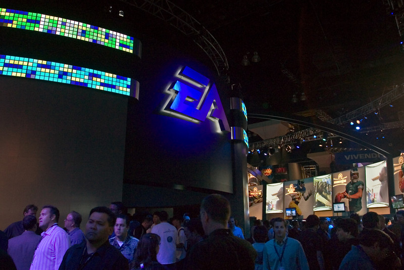 First thing you see upon entering the South Hall is EA's huge booth