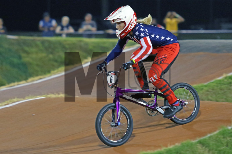 Felicia Stancil (6) of the United States races at the UCI BMX Supercross World Cup Round 8 at Rock Hill, S.C., on Saturday, Sept. 14, 2019.