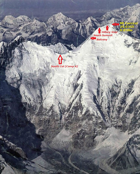Mt Everest (29,035ft = 8.850m). View from the east.