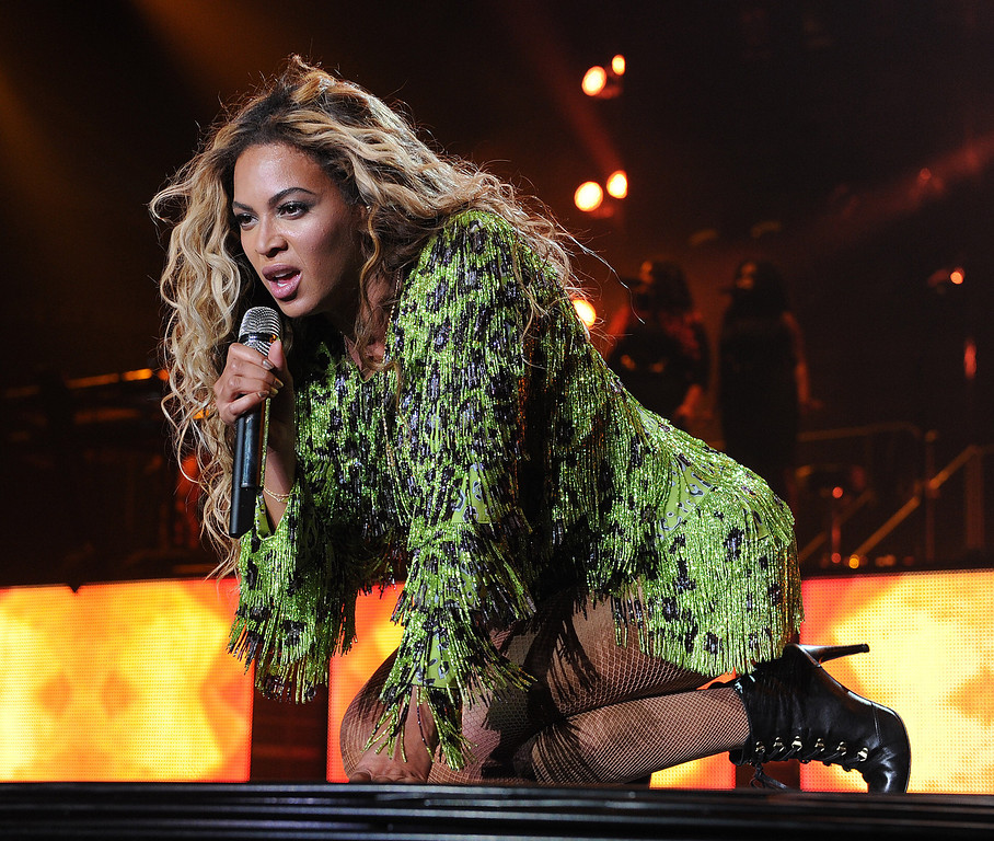 ". Singer Beyonce performs on her ""Mrs. Carter Show World Tour 2013\"", on Saturday June 29, 2013, in Las Vegas, Nevada. (Photo by Frank Micelotta/Invision for Parkwood Entertainment/AP Images)"