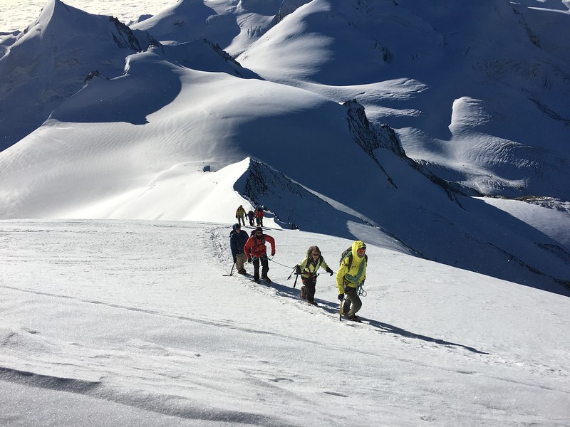 Climbing up Alphubel after being dropped off below by a helicopter