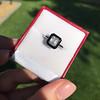 1.19ct Vintage Emerald Cut Diamond Onyx Ring, GIA E VS2 17