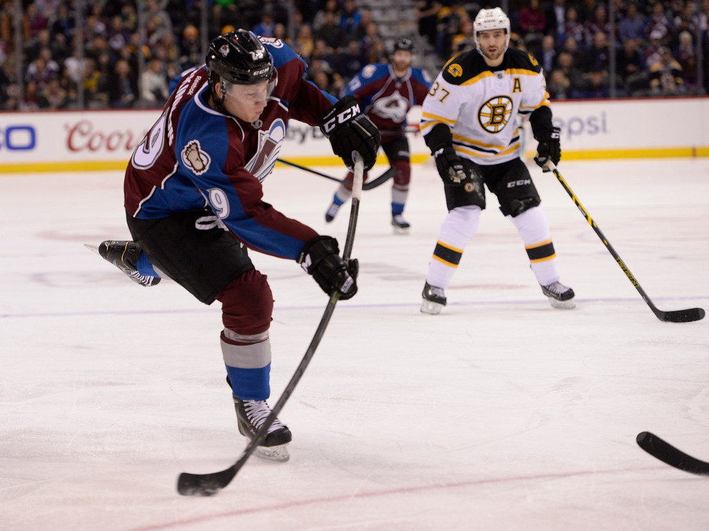 . DENVER, CO - JANUARY 21: Colorado Avalanche center Nathan MacKinnon (29) takes a shot on goal against the Boston Bruins during the first period January 21, 2015 at Pepsi Center. (Photo By John Leyba/The Denver Post)