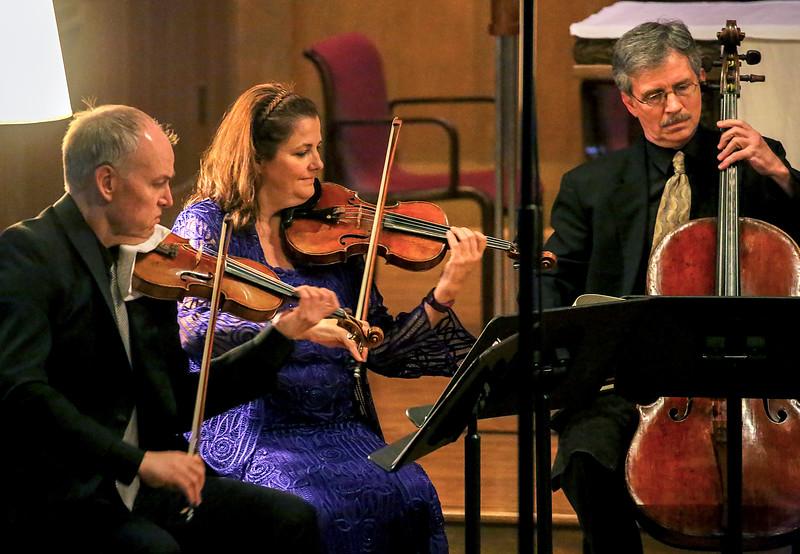 Violinists David Salness and Sophia Silivos ... Cellist Barrett Sills