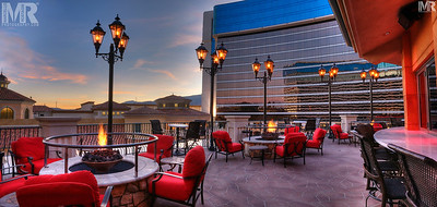 Reno Photographer Marcello Rostagni photographs the patio at the Peppermill Hotel Casino for their advertisement of the venue.