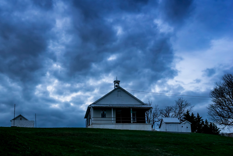 clouds - one room schoolhouse on hill(p).jpg