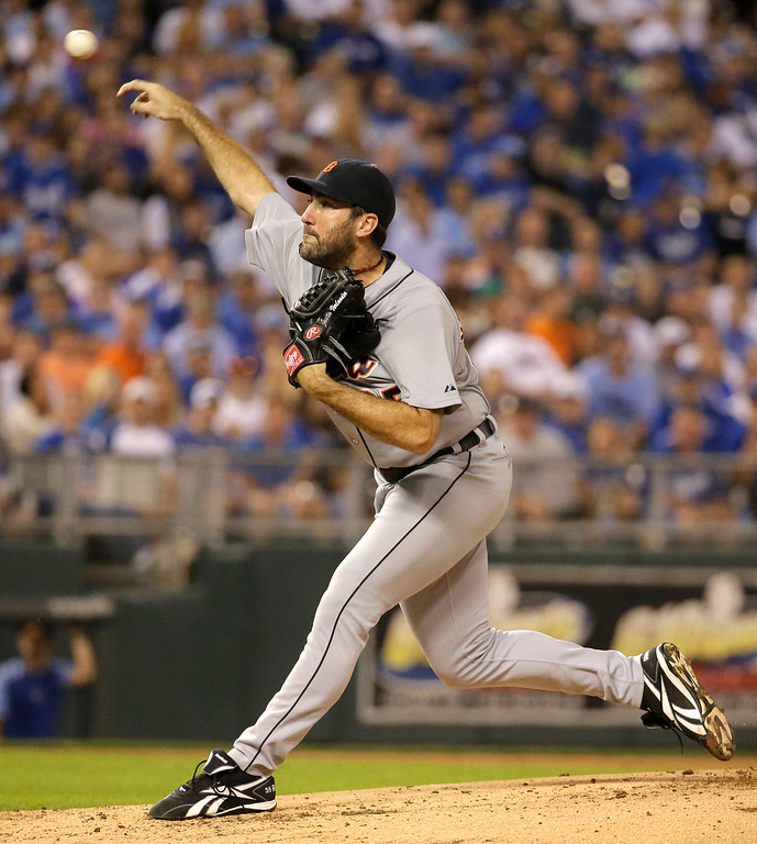 . Detroit Tigers starting pitcher Justin Verlander throws during the first inning of a baseball game against the Kansas City Royals on Friday, Sept. 19, 2014, in Kansas City, Mo. (AP Photo/Charlie Riedel)