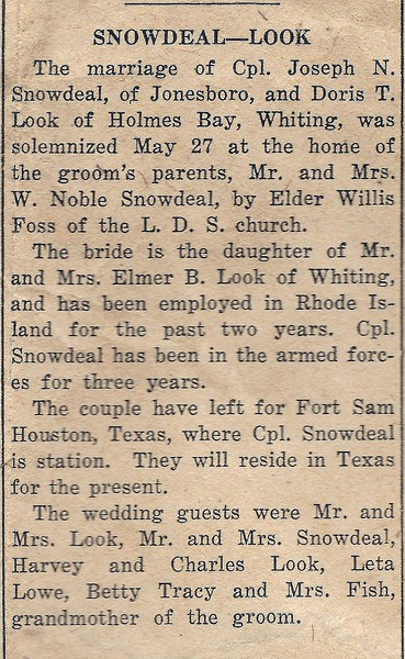 Joseph Snowdeal and Doris Look Get Married  May 27 1943