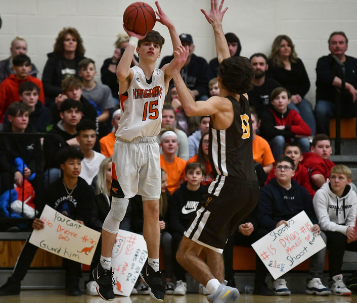2/14/2020 Mike Orazzi | Staff Terryville High School's Dylan Matulis (15) during Friday evening's boys basketball game with Thomaston in Terryville.