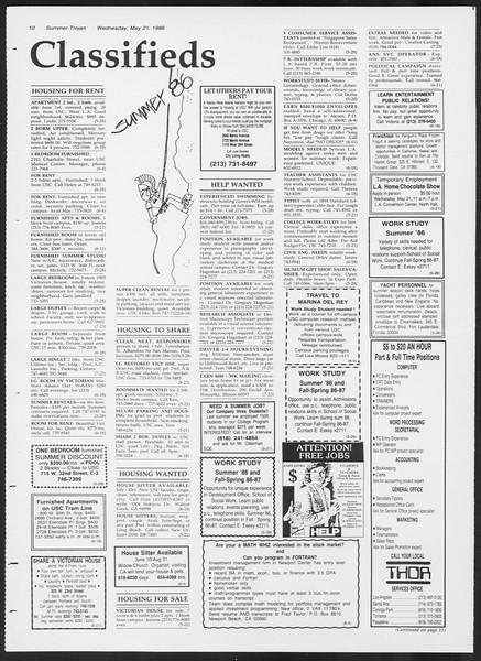 Summer Trojan, Vol. 101, No. 1, May 21, 1986