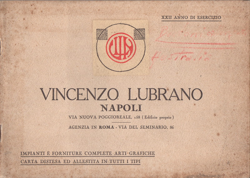 Cover of the catalog of the Vincenzo Lubrano foundry in Naples. 1920s.