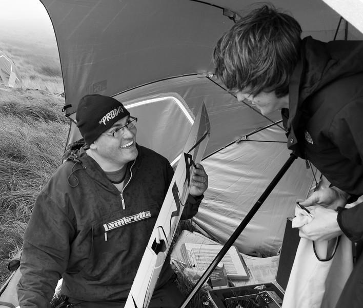 Adam and Jack talking Vampires. Some spots of rain already.