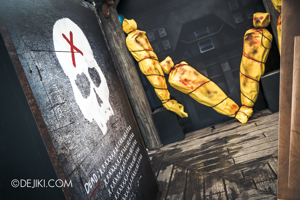 Halloween Horror Nights 7 Preview Construction Update Before Dark 4 - ZOMBIE LASER TAG / DEAD room with counters