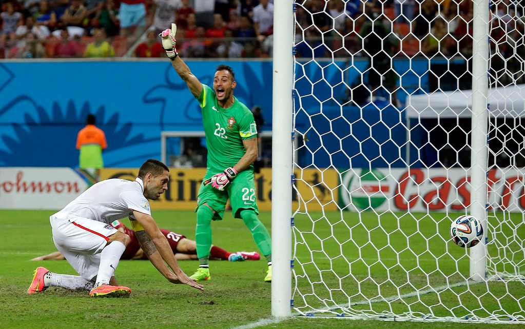 . Portugal\'s goalkeeper Beto reacts after United States\' Clint Dempsey scored his side\'s second goal during the group G World Cup soccer match between the USA and Portugal at the Arena da Amazonia in Manaus, Brazil, Sunday, June 22, 2014. (AP Photo/Martin Mejia)