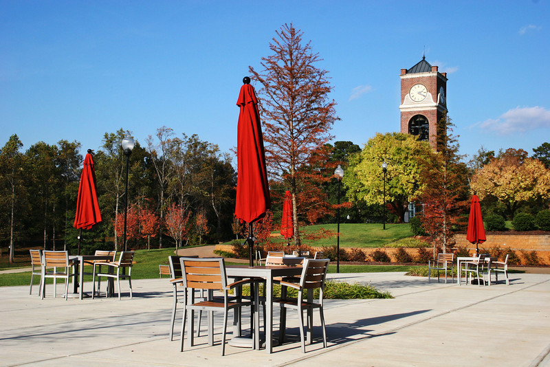 Lakeside Terrace of the Tucker Student Center on a beautiful Fall day.