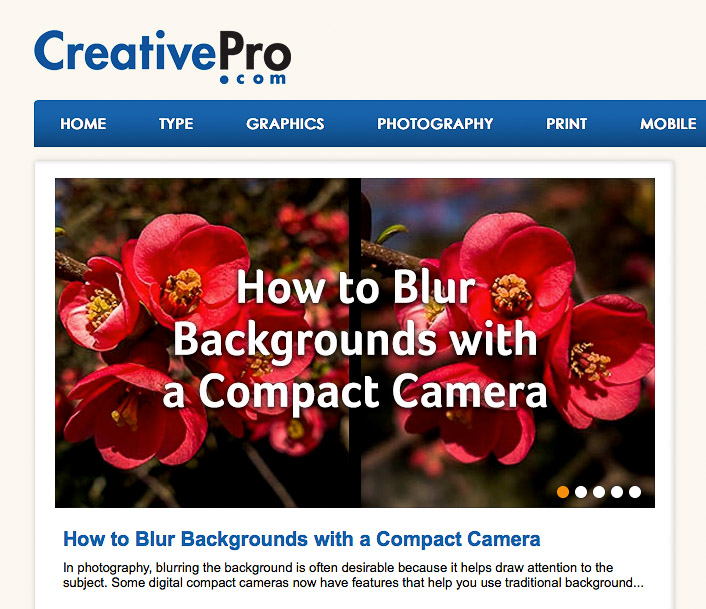 How to Blur Backgrounds with a Compact Camera on CreativePro.com